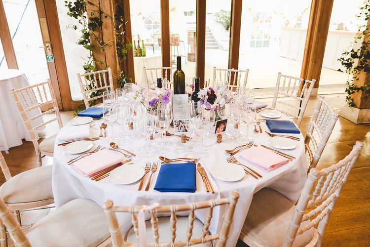 Reception Table Decor | Outdoor Ceremony at Sulgrave Manor Northamptonshire | Nicola Casey Photography