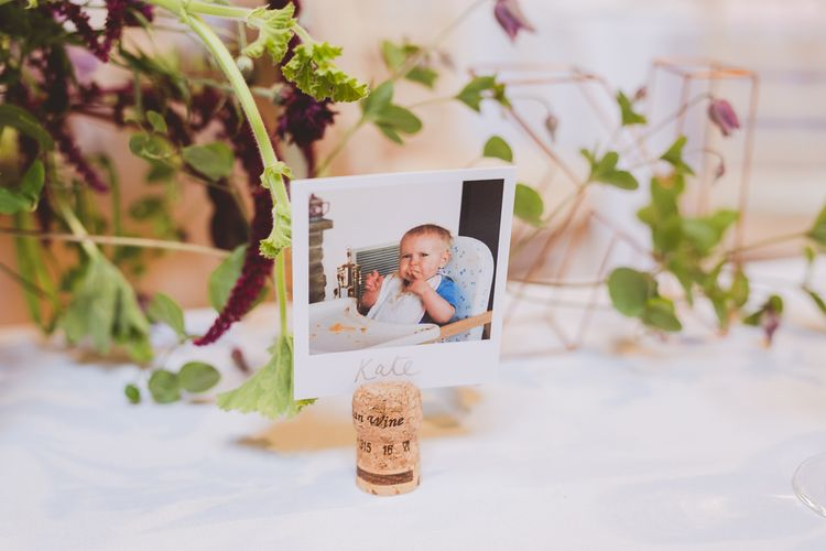 Polaroid Picture Name Place Setting | Outdoor Ceremony at Sulgrave Manor Northamptonshire | Nicola Casey Photography