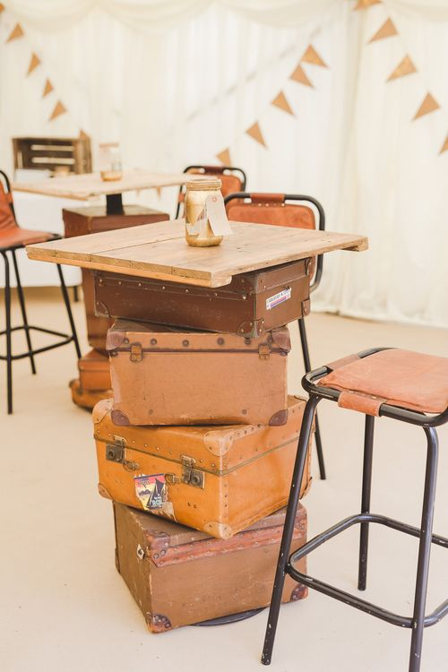 Stacked Vintage Suitcase Tables | Outdoor Ceremony at Sulgrave Manor Northamptonshire | Nicola Casey Photography