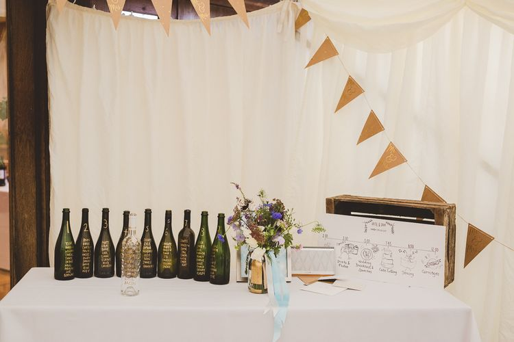 Bottle Table Plan & Bunting Wedding Decor | Outdoor Ceremony at Sulgrave Manor Northamptonshire | Nicola Casey Photography