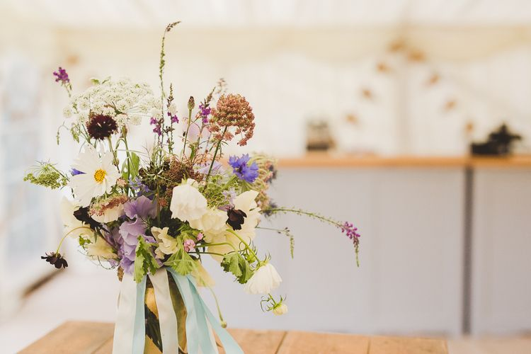 Wild Flower Arrangement | Outdoor Ceremony at Sulgrave Manor Northamptonshire | Nicola Casey Photography