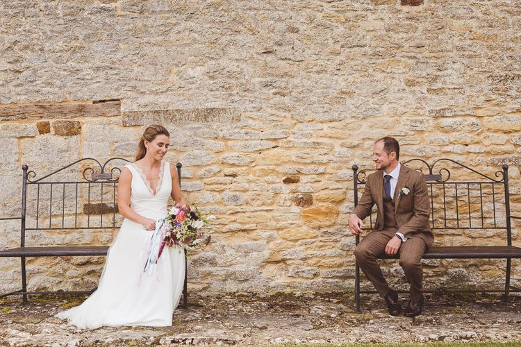 Bride in Charlie Brear Gown | Groom in Tweed Suit | Outdoor Ceremony at Sulgrave Manor Northamptonshire | Nicola Casey Photography