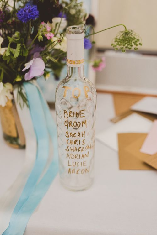 Top Table Bottle Table Plan | Wedding Decor | Outdoor Ceremony at Sulgrave Manor Northamptonshire | Nicola Casey Photography