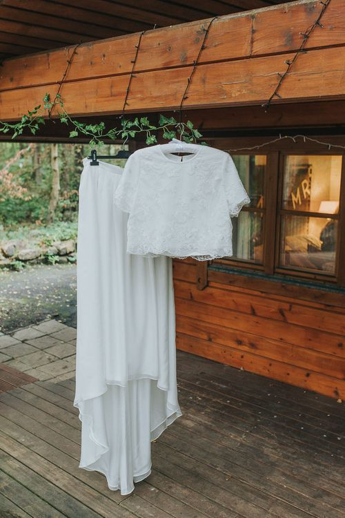Custom Made Bridal Separates | Pink & Gold Summer Wedding at East Riddlesden Hall Barn, Wiltshire | Laura Calderwoods Photography