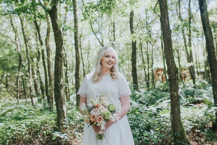Bride in Custom Made Separates | Pink & Gold Summer Wedding at East Riddlesden Hall Barn, Wiltshire | Laura Calderwoods Photography