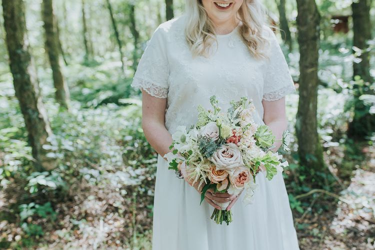 Romantic Pastel Rose Bouquet | Pink & Gold Summer Wedding at East Riddlesden Hall Barn, Wiltshire | Laura Calderwoods Photography