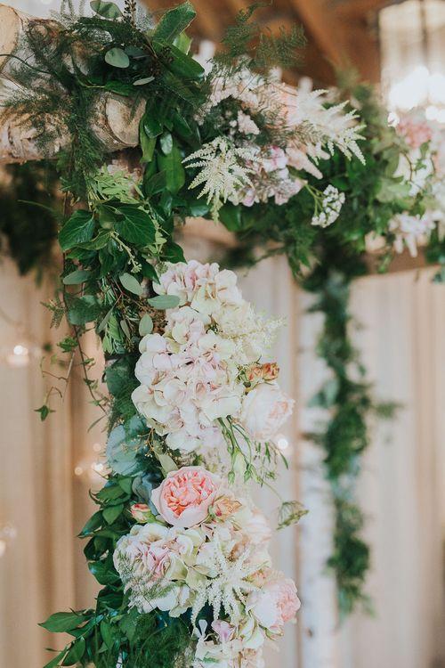 Foliage & Blush Pink Flower Arch | Pink & Gold Summer Wedding at East Riddlesden Hall Barn, Wiltshire | Laura Calderwoods Photography