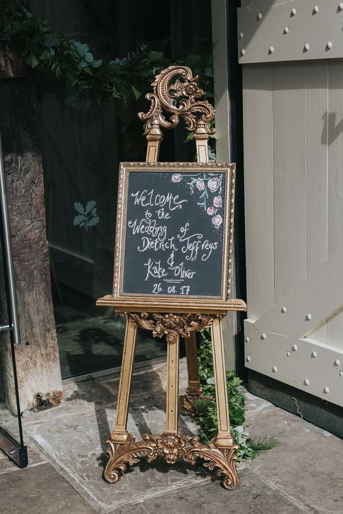 Gold Guilt Easel & Wedding Welcome Sign | Pink & Gold Summer Wedding at East Riddlesden Hall Barn, Wiltshire | Laura Calderwoods Photography