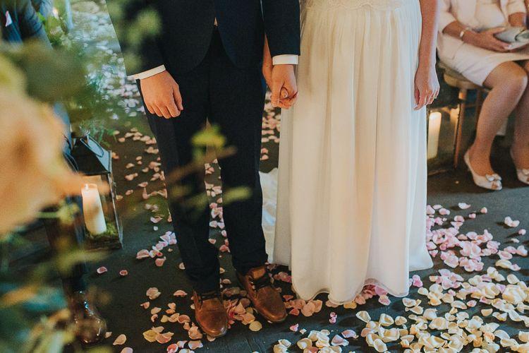 Petals on the Floor | Wedding Ceremony | Pink & Gold Summer Wedding at East Riddlesden Hall Barn, Wiltshire | Laura Calderwoods Photography