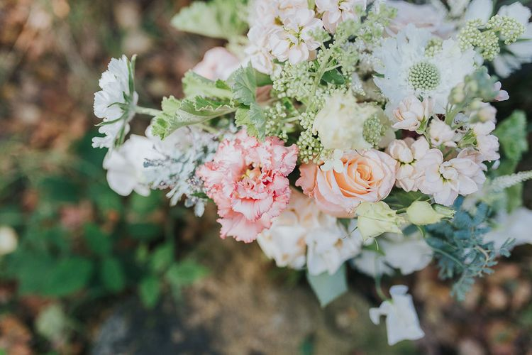 Romantic Blush Flowers | Pink & Gold Summer Wedding at East Riddlesden Hall Barn, Wiltshire | Laura Calderwoods Photography
