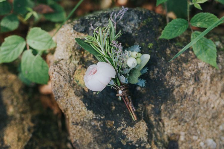 Buttonhole | Pink & Gold Summer Wedding at East Riddlesden Hall Barn, Wiltshire | Laura Calderwoods Photography