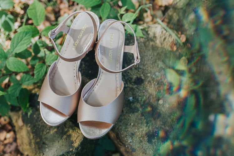 Gold Sandal Wedding Shoes | Pink & Gold Summer Wedding at East Riddlesden Hall Barn, Wiltshire | Laura Calderwoods Photography