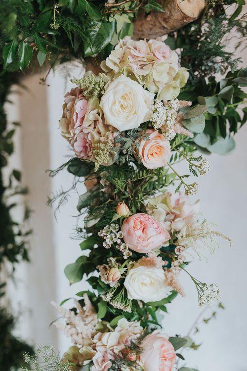 Blush Pink Flower Decor | Pink & Gold Summer Wedding at East Riddlesden Hall Barn, Wiltshire | Laura Calderwoods Photography