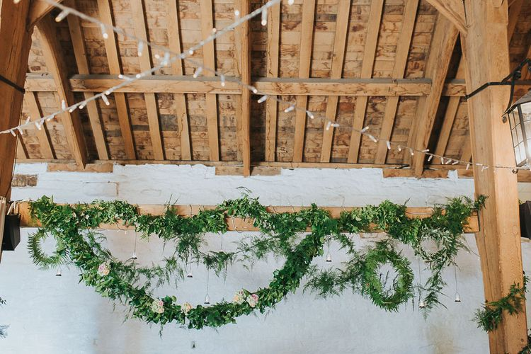 Greenery Garland | Pink & Gold Summer Wedding at East Riddlesden Hall Barn, Wiltshire | Laura Calderwoods Photography