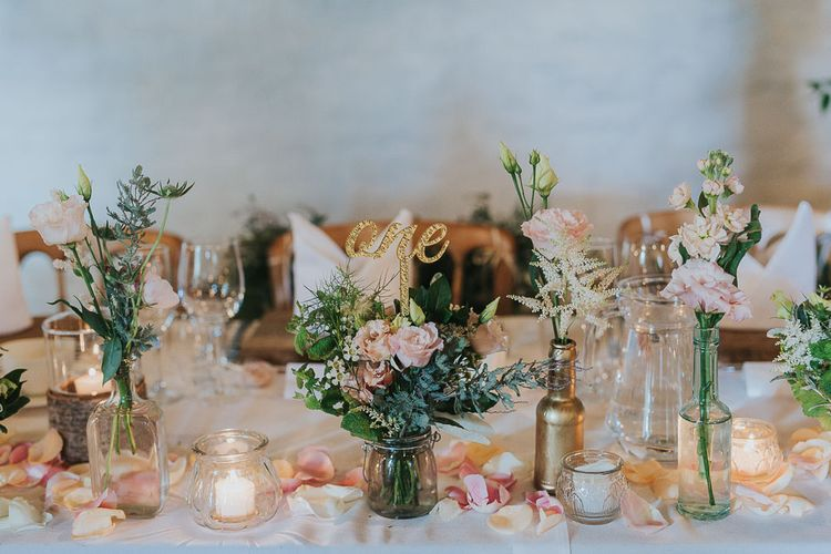 Flower Stems in Bottles & Jars | Table Decor | Pink & Gold Summer Wedding at East Riddlesden Hall Barn, Wiltshire | Laura Calderwoods Photography