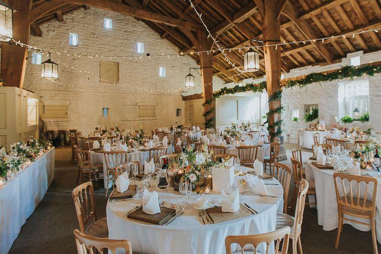 Wedding Reception Decor | Festoon Lights | Pink & Gold Summer Wedding at East Riddlesden Hall Barn, Wiltshire | Laura Calderwoods Photography