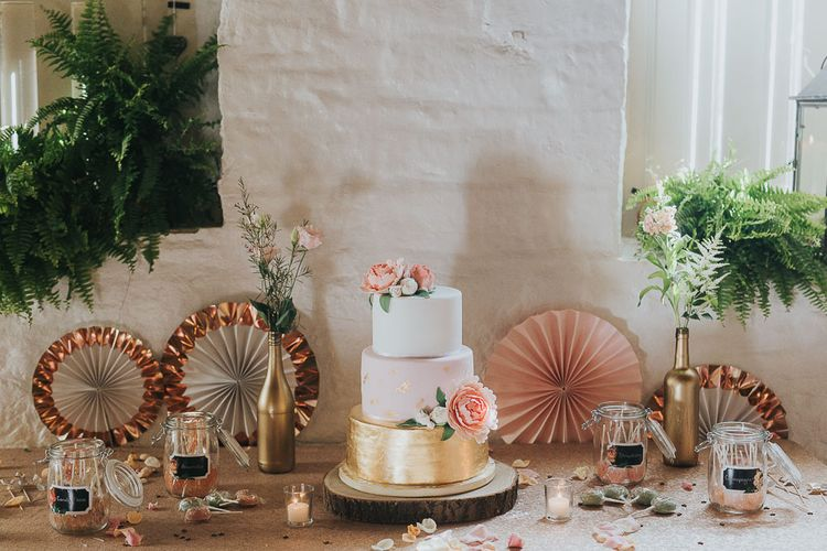 Homemade Gold, Blush & White Iced Wedding Cake | Pink & Gold Summer Wedding at East Riddlesden Hall Barn, Wiltshire | Laura Calderwoods Photography