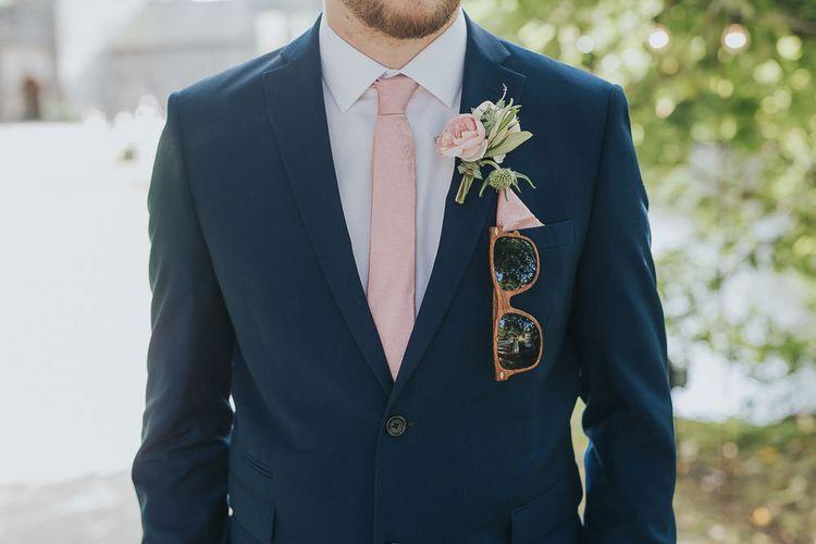 Groom in Navy Next Suit & Pink Tie | Pink & Gold Summer Wedding at East Riddlesden Hall Barn, Wiltshire | Laura Calderwoods Photography