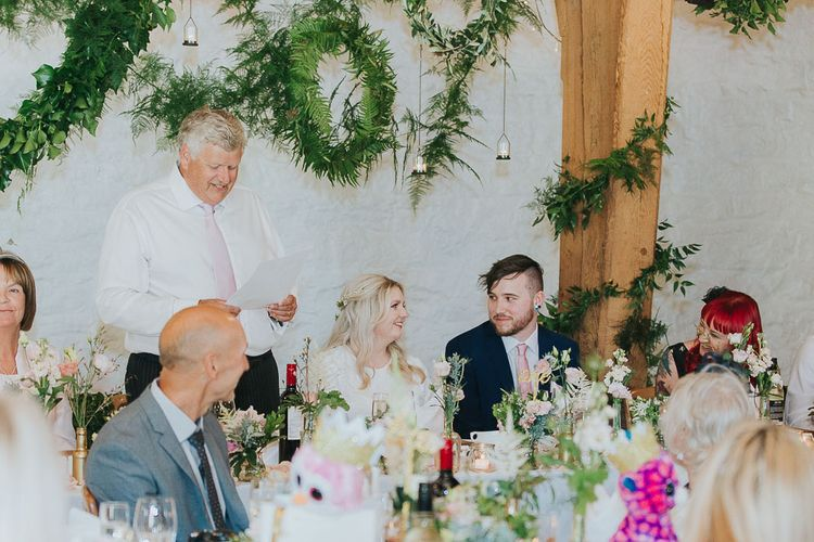 Wedding Reception Speeches | Bride in Custom Made Separates | Groom in Next Suit | Pink & Gold Summer Wedding at East Riddlesden Hall Barn, Wiltshire | Laura Calderwoods Photography