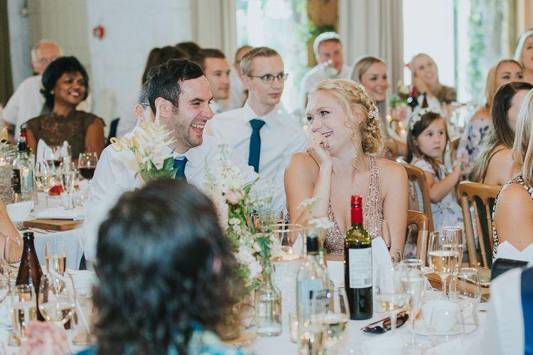 Wedding Reception Speeches | Pink & Gold Summer Wedding at East Riddlesden Hall Barn, Wiltshire | Laura Calderwoods Photography