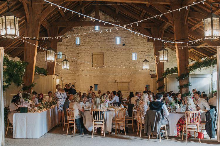 Wedding Reception | Pink & Gold Summer Wedding at East Riddlesden Hall Barn, Wiltshire | Laura Calderwoods Photography