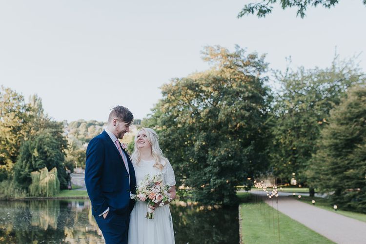 Portrait | Bride in Custom Made Separates | Groom in Next Suit | Pink & Gold Summer Wedding at East Riddlesden Hall Barn, Wiltshire | Laura Calderwoods Photography