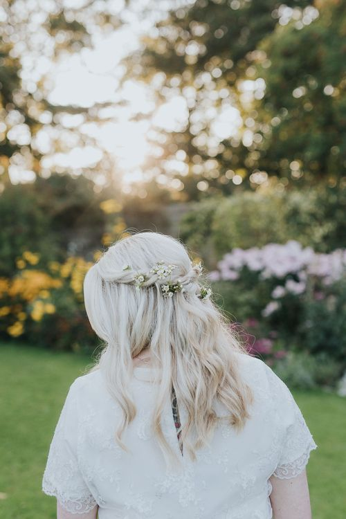Half Up Half Down Hairstyle with Flowers | Pink & Gold Summer Wedding at East Riddlesden Hall Barn, Wiltshire | Laura Calderwoods Photography