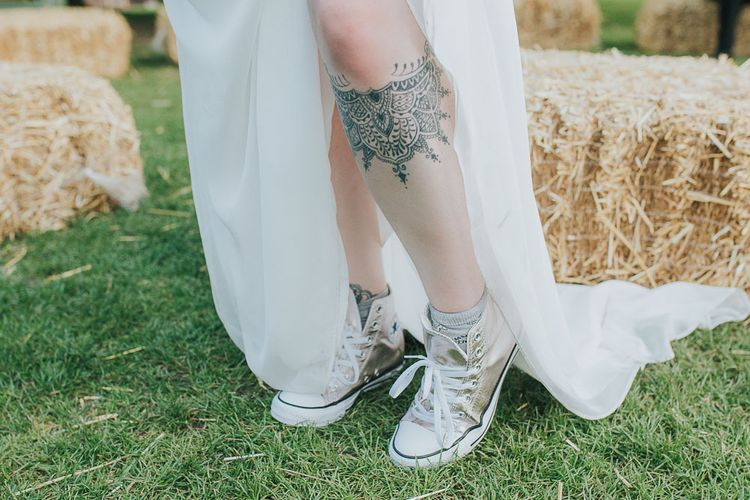 Gold Converse Trainers | Pink & Gold Summer Wedding at East Riddlesden Hall Barn, Wiltshire | Laura Calderwoods Photography