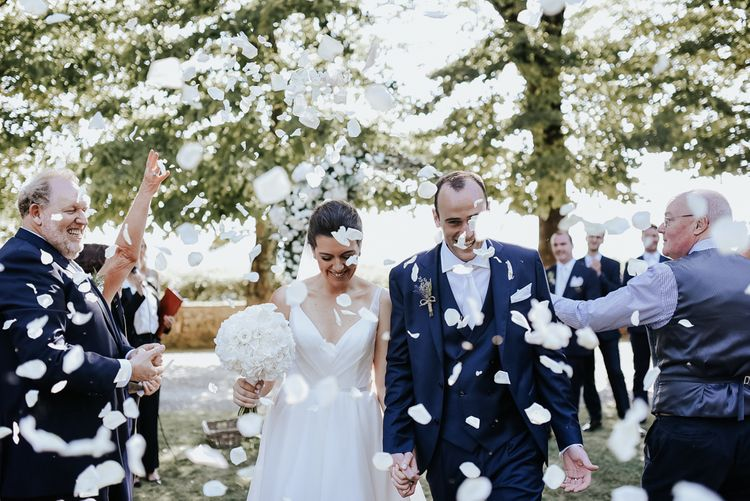 Confetti Shot With Bride In Hayley Paige