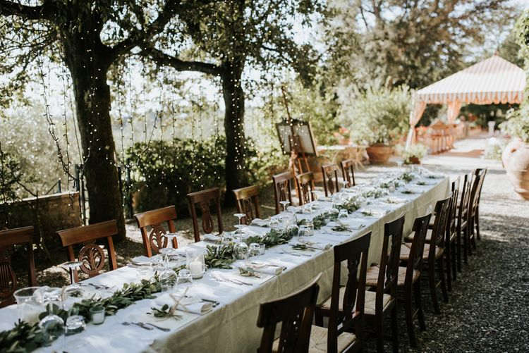 Fairy Light Canopy Wedding In Tuscany Italy Styled By Italian Eye And Photographed By Damien Milan Photography With Bride In Hayley Paige