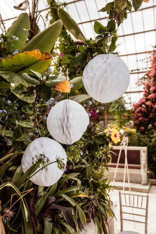 Hanging White Honeycomb Balls Wedding Decor
