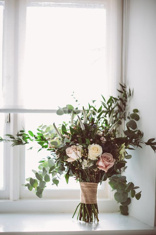 Rustic Wedding Bouquet With Roses And Foliage