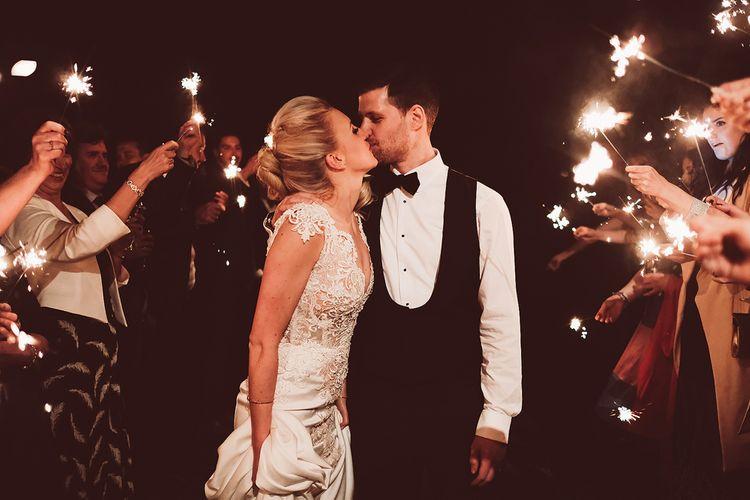 Sparkler Send Off For Winter Wedding