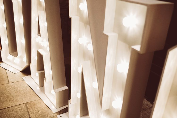 Giant Light Up Letters At Wedding