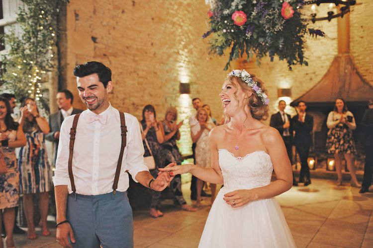 Bride With Pastel Flower Crown For A Rustic Music Themed Wedding At Stone Barn With Images From Weddings Vintage