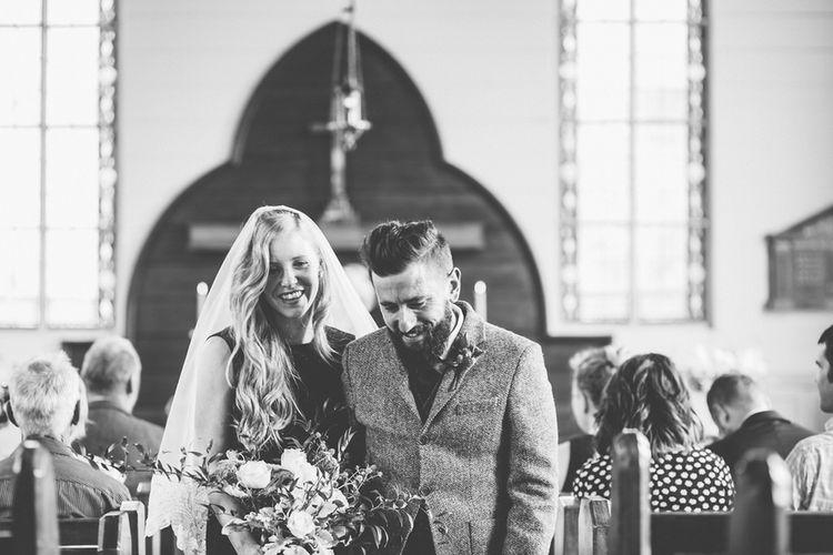 Church Ceremony | Bride in Navy Karen Walker Wedding Dress | Groom in Harris Tweed Suit | New Zealand Wedding | Nigel John Photography