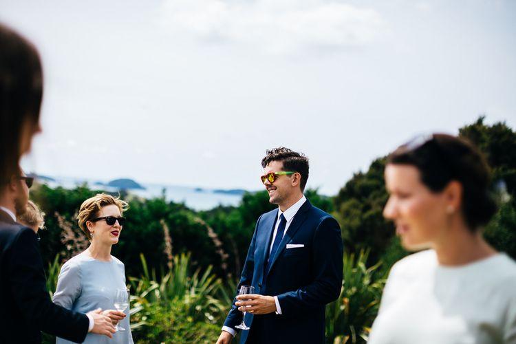 Wedding Guests | Bride in Navy Karen Walker Wedding Dress | Groom in Harris Tweed Suit | New Zealand Wedding | Nigel John Photography