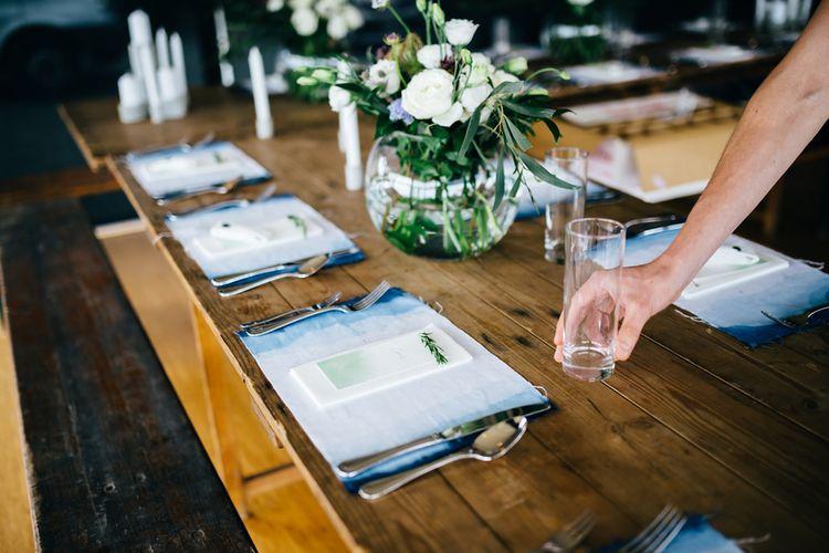Place Setting | Greenery Decor | White Flowers | Mann House Venue | New Zealand Wedding | Nigel John Photography
