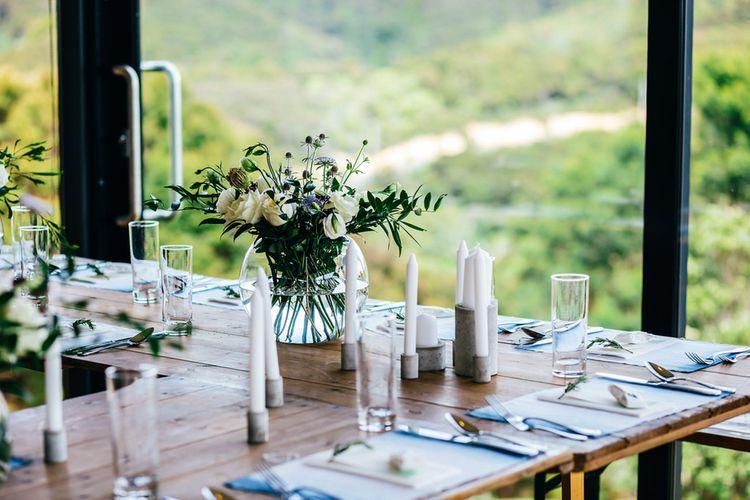 White Candle Sticks | Greenery & White Florals | Wedding Decor | | New Zealand Wedding | Nigel John Photography
