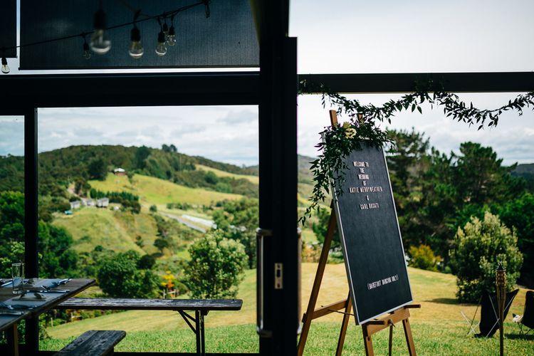 Barber Board / Peg Board Welcome Sign | Mann House Venue | New Zealand Wedding | Nigel John Photography