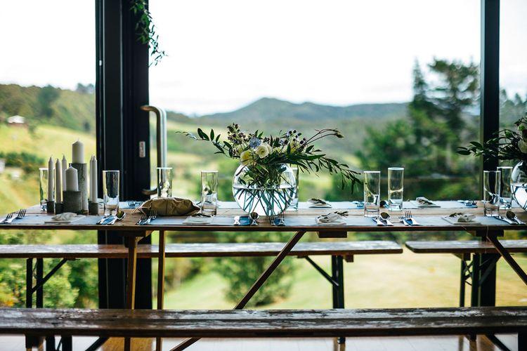 Greenery & White Floral Centrepiece | White & Greenery Flower Arrangement | Mann House Venue | New Zealand Wedding | Nigel John Photography