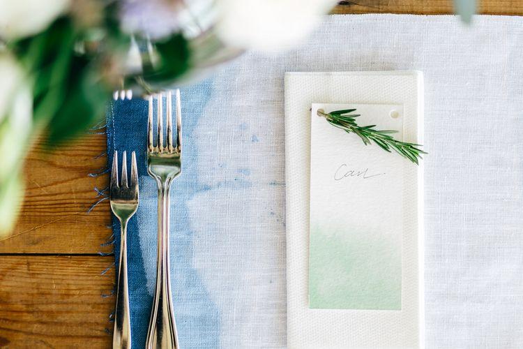 Place Setting | White & Greenery Flower Arrangement | Mann House Venue | New Zealand Wedding | Nigel John Photography