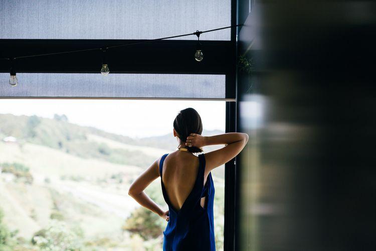 Navy Dress | White & Greenery Flower Arrangement | Mann House Venue | New Zealand Wedding | Nigel John Photography