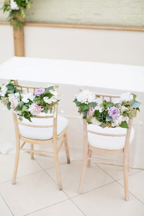 Floral Chair Back Decor | Pastel Wedding at Gaynes Park | Anneli Marinovich Photography