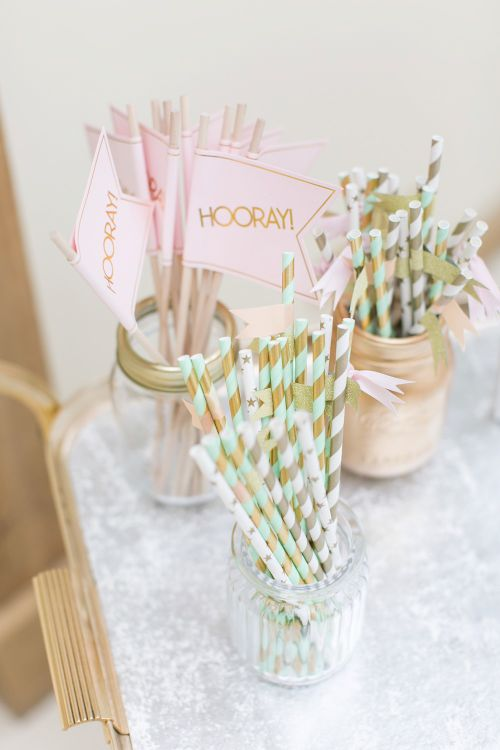 Stipe Straws in Mason Jars | Pastel Wedding at Gaynes Park | Anneli Marinovich Photography