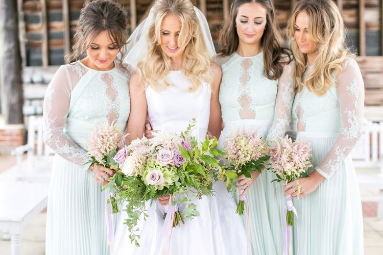Bridesmaids in Mint Green ASOS Dresses | Bride in Sassie Holdford Bryony Wedding Dress | Pastel Wedding at Gaynes Park | Anneli Marinovich Photography