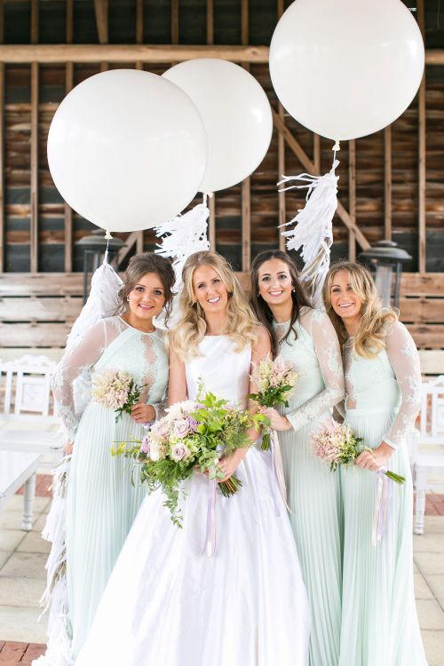 Giant Balloons & Tissue Tassels | Bridesmaids in Mint Green ASOS Dresses | Bride in Sassie Holdford Bryony Wedding Dress | Pastel Wedding at Gaynes Park | Anneli Marinovich Photography
