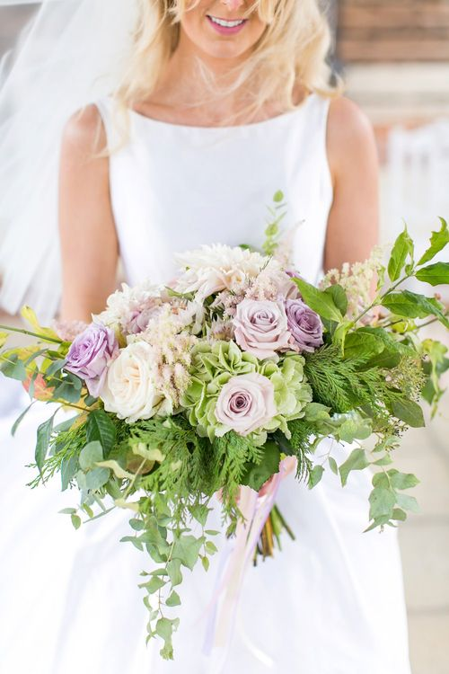Lilac Rose & Foliage Wedding Bouquet | Bride in Sassie Holdford Bryony Wedding Dress | Pastel Wedding at Gaynes Park | Anneli Marinovich Photography