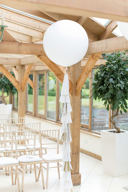 Giant Balloons with Tissue Tassels | Pastel Wedding at Gaynes Park | Anneli Marinovich Photography