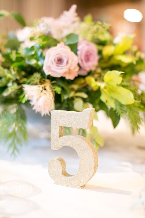 Gold Glitter Table Numbers | Pastel Wedding at Gaynes Park | Anneli Marinovich Photography
